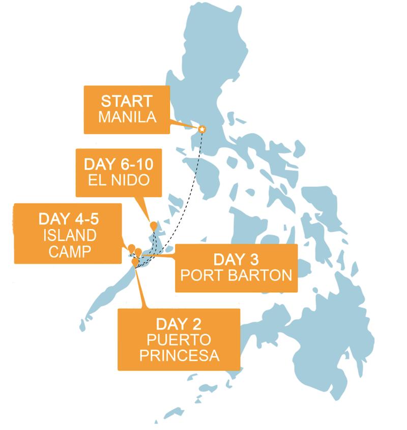 Routemap Filipijnen Groepsreis