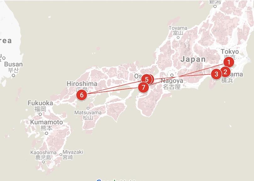 Routemap Japan Wanderer Groepsreis voor jongeren