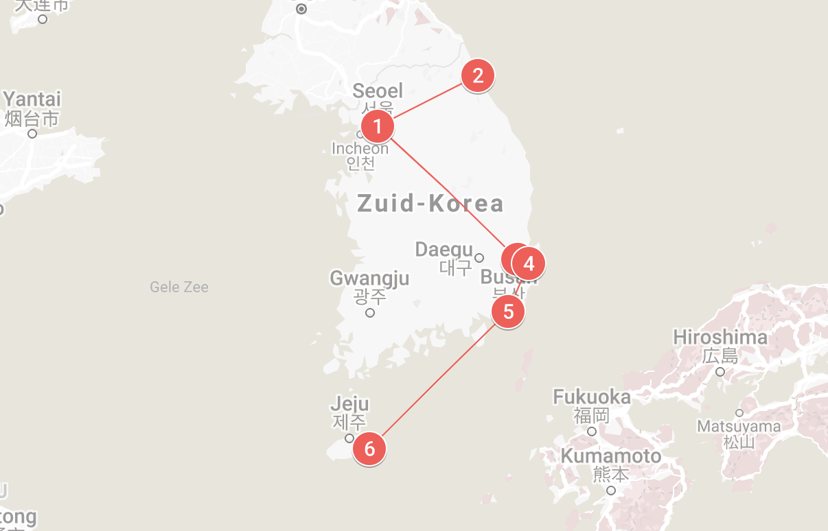 Routemap Zuid-Korea Adventure Groepsreis