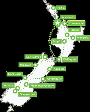 Routemap Nieuw-Zeeland Frontal Groepsreis