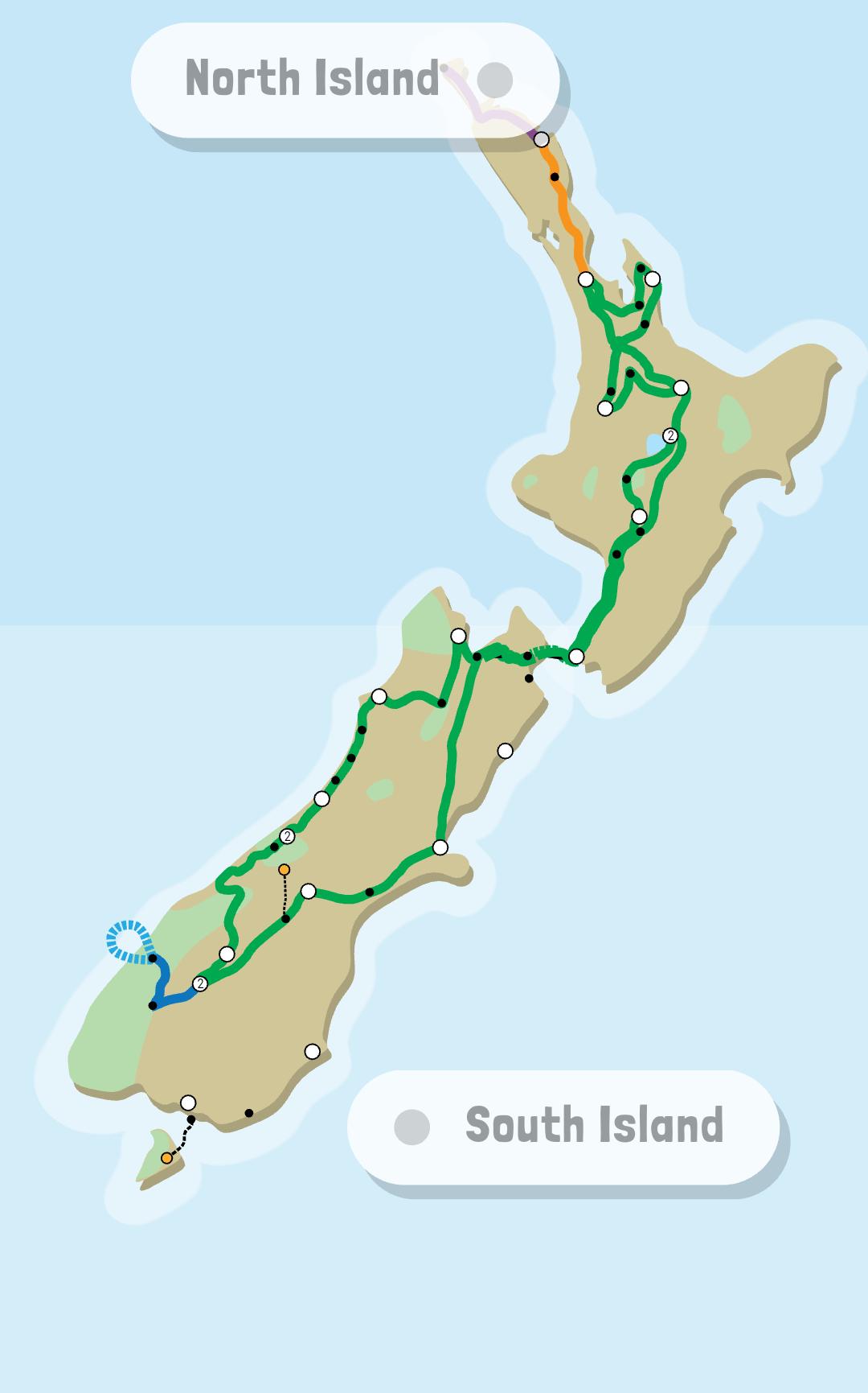 Routemap Super Funky Kiwi Experience Buspas