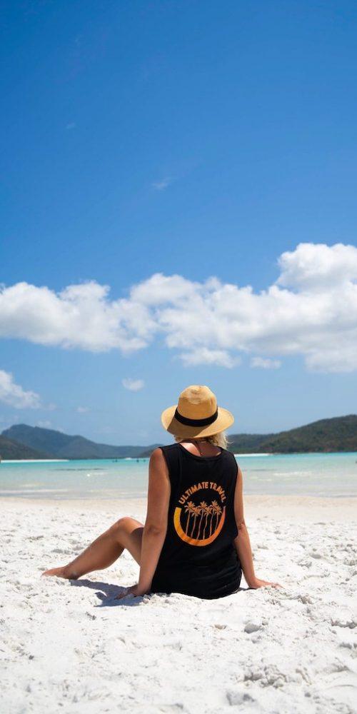 Chillen op de witte strand van Whitehaven Beach