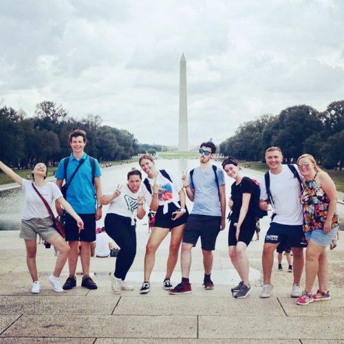 Groep reizigers in Amerika