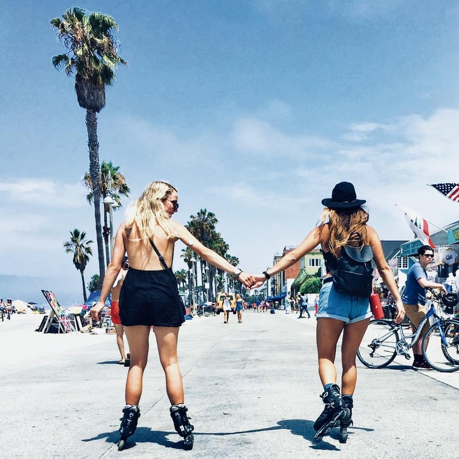 Boulevard van Los Angeles tijdens de West to East jongeren groepsreis