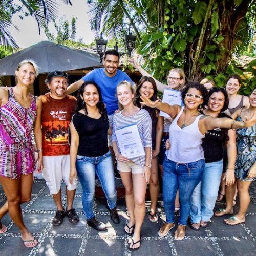 Groep mede studenten Spaans leren in Mexico