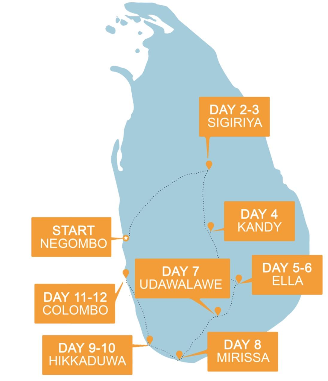 Sri Lanka Adventure Routemap