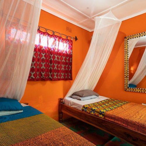 Gedeelde slaapkamer tijdens het vrijwilligerswerk project in Zambia
